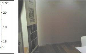 IR-Thermografie des Holzaußenwandgefaches der NNW-Außenwand mit Messfühlern
