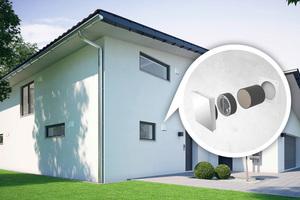Die dezentrale Wohnraumlüftung benötigt keine Rohrleitungsnetze für die Be- und Entlüftung und eignet sich daher sowohl für den Neubau als auch zur einfachen Nachrüstung bei der Sanierung bestehender Gebäude mittels Kernbohrung<br />