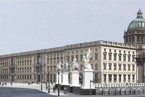 """Architektur-Rendering für das fertiggestellte Berliner Schloss, Blick von """"Unter den Linden"""""""