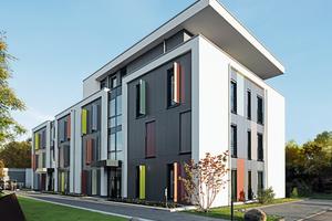 Weiße Putzflächen, graue Fassadenplatten und farbige Sichtschutz-Elemente vor den Energiesparfenstern tragen zu einer lebendigen, individuellen Fassadengestaltung bei<br />&nbsp;<br />