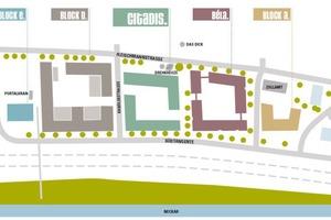 Lageplan Quartier Lok.West in Esslingen: Béla ist das erste von fünf Gebäude