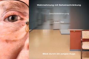Im Alter erlebt man sein Umfeld anders: Durch die altersbedingte Pupillenverkleinerung kommt es zu Helligkeitsverlusten. Der Raum wird vergrauter, matter, farbloser und meist auch unschärfer wahrgenommen. Durch die Gesichtsfeldverkleinerung wird der Sehbereich eingeschränkt