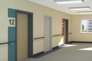 Für Bewohner nicht zugängliche Räume treten durch die helle Türfarbigkeit und den durchgehenden Bodenfries in den Hintergrund. Dagegen sind die Wohnungstüren durch ihre dunklen Zargen für alle gut zu erkennen