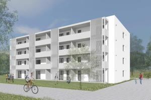 Die 32 barrierefreien Wohnungen verteilen sich auf acht Ein-Zimmer, acht Zwei-Zimmer, acht Drei-Zimmer- und acht Vier-Zimmer-Wohnungen