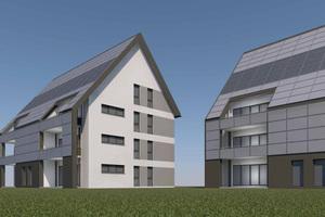Die Gebäude sind für aktive und passive Nutzung der Solarenergie optimiert, die Dächer sind mit 50Grad steiler als üblich, um auch im Winter viel Wärme und Strom ernten zu können