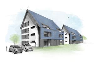 Zwei miteinander vernetzte Mehrfamilienhäuser, wie sie gerade in Cottbus entstehen