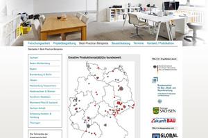 "Screenshot der projektbegleitenden Website <a href=""http://www.kreative-produktionsstaedte.de"" target=""_blank"">www.kreative-produktionsstaedte.de</a>"