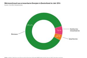 Wärmeverbrauch aus erneuerbaren Energien in Deutschland im Jahr 2016. Gesamt: 162,4 Mrd. Kilowattstunden