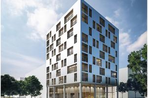 """Das zehngeschossige Holzhochhaus """"J1"""", das derzeit in Heilbronn entsteht, ist mit 34 m Höhe Deutschlands höchstes Gebäude in Holzbauweise"""