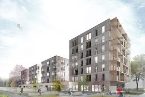 Mit der neuen ökologischen Mustersiedlung im Süden des Prinz Eugen Parks in München-Bogenhausen entstehen rund 480 Wohnungen – und alle aus Holz