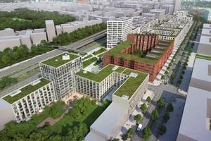 QH Core nimmt die industrielle Vergangenheit des Ortes auf. Die Fertigstellung des prägnanten Gebäudes ist für 2019 vorgesehen