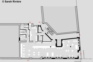 Grundriss EG: Um die Nutzfläche der Bar im Erdgeschoss zu erhöhen, reicht die Bar durch den Neubau in den Altbau hinein