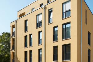 Die schlanken Außenwände erfüllen durch die Funktionstrennung moderne Standards der Energieeffizienz