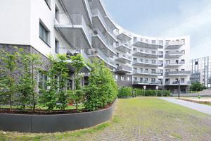 """Aus dem ehemaligen Thyssen Trade Center ist der Wohnkomplex """"Living Circle"""" entstanden. Seine Konturen sind von runden Formen geprägt"""