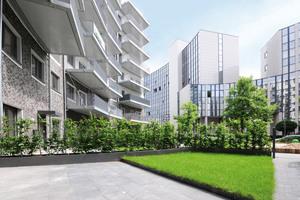 Eine zusätzliche Ebene in den Terrassenbereichen entsteht durch die Bandeinfassungen. Die Aluminium-Schienen umranden die Rasenflächen der einzelnen Gärten<br />