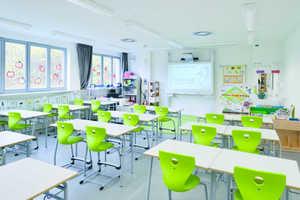 Die hellen Klassenräume sind mit modernsten Lehrmitteln ausgestattet