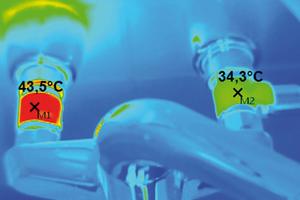 Unterschätztes Risiko: Durch die über die PWH-Zirkulation durchströmte Wandscheibe erwärmt sich die Entnahmearmatur, es kommt im Kaltwasser-Bereich zu hygienekritischen Temperaturen [9]