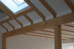 Als gestalterisches Element bleiben die Holzsparren im Wohnbereich sichtbar
