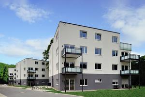 In der Bochumer Kaulbachstraße sind im Zuge der innerstädtischen Nachverdichtung durch VONOVIA drei viergeschossige Punkthäuser mit je 14 Wohneinheiten entstanden