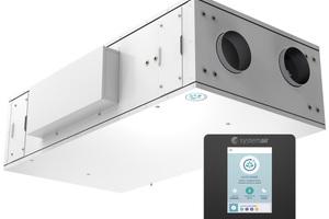 Das kompakte Wohnungslüftungsgerät SAVE VSR 150/B mit hocheffizientem Rotationswärmeübertrager kann in Zwischendecken montiert werden. Der Rotationswärmeübertrager gewinnt im Winter Wärme plus Feuchtigkeit zurück und kann im Sommer zur freien Kühlung genutzt werden