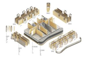 Elementierung und Bauteilaufbauten: Durch die Vereinfachung im Bau- kastensystem kann die Vorfertigung standortunabhängig erfolgen