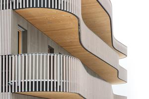 Elementierung und Bauteilaufbauten: Durch die computergestützte Fertigung lässt sich die geschwungene Kontur der Balkone wirtschaftlich umsetzen