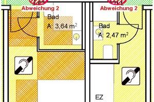 Bild 1: Zwei Hotelzimmer - das Doppelzimmer ist barrierefrei nach dem Standard DIN 18040-2 eingerichtet