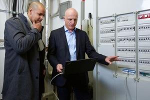 David Robertson (links) Technischer Projektleiter von noventic und KALO, und Roland Klaiber, Projektmanager von PPC im Gespräch<br />