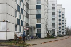 Vor der Modernisierung: Monoton, trist und veralgt präsentierten sich die gewaltigen Fassadenflächen, die mit Eternitplatten verkleidet waren