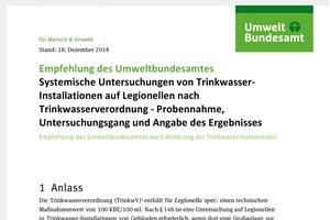 Bild 1: Es gibt eine neue, kostenlos herunterladbare Empfehlung des Umweltbundesamtes (www.uba.de) zur Systemischen Untersuchung von Trinkwasser-Installationen auf Legionellen