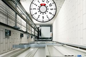 Die Prüfplakette gibt Auskunft darüber, dass der Aufzug vorschriftsmäßig betrieben wird