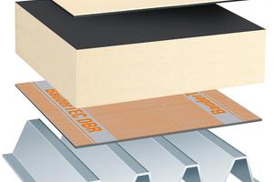 Hochwertiger typischer Leichtdach-Aufbau auf Trapezblech