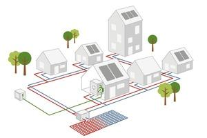 Skizze des kalten Nahwärmenetzes in Reichenbach; ein Photovoltaik-Carport inklusive E-Ladesäule und E-Car-Sharing-Fahrzeug ergänzen das Konzept