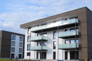 Die energieeffiziente Wohnanlage besteht aus zwei viergeschossigen Wohnhäusern