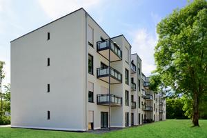 Die Gebäude nehmen die Architektursprache des Gebäudebestandes der WGL auf und fügen sich harmonisch in die Umgebung ein