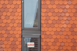Die Tondachziegel in zwei Farben sorgen für ein harmonisches Dachbild