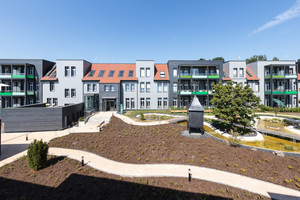 Altenheim, sozialer Wohnungsbau und frei finanziertes Wohnen in einem Block