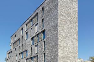 Das Projekt besteht aus fünf fingerartigen Baukörpern, die einen hofartigen Raum zur Südseite ausbilden