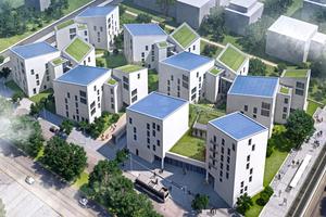 Das Projekt Future Living Berlin will mithilfe moderner Technologien und mit bedarfsgerechten Dienstleistungen in allen Lebensphasen ein selbstbestimmtes Leben in der eigenen Wohnung ermöglichen. Für die vertikale Mobilität sorgen Aufzüge von Schindler und das myPORT-System