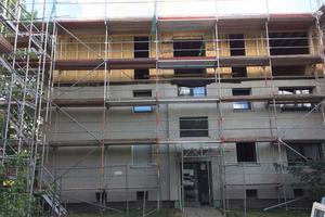 In der Wohnsiedlung Binsengarten im Dortmunder Stadtteil Hörde entstand durch Aufstockung von vier Gebäuden neuer Wohnraum