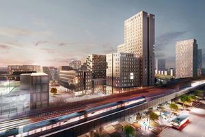 Das mittlerweile fertig gestellte Gebäude beherbergt Wohnungen, ein Hotel, Büros und Business-Geschosse