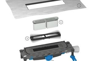 Mit dem Entwässerungssystem DallFlex lassen sich bodengleiche Duschen auch im Bestand unkompliziert realisieren.<br />1. Einklickbare Dichtmanschette zur Aufnahme von Verbund- sowie Bahnenabdichtung gemäß DIN 18534<br /> 2. Herausnehmbarer Geruchsverschluss<br /> 3. Ablaufstutzen dreiseitig positionierbar<br /> 4. Montagefüße zur Schallentkopplung und Höheneinstellung<br />5. Wechselrahmen zur nachträglichen Anpassung an unterschiedlich dicke Wandbeläge