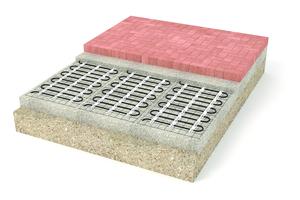 Aufbau eines beheizten Gehweges mit Stein- oder Plattenbelag