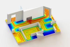 Die thermische Simulation einer typischen Anbindesituation eines Fußbodenheizungsverteilers zeigt die resultierende Fußboden-Oberflächentemperatur im Vergleich: Hier ohne Kermis x-net connect...