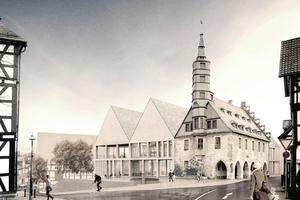 Visualierung des Rathaus Korbach mit dem aus Recycling-Beton neu errichteten Erweiterungsbau