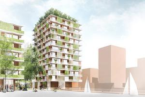 Skizze des Moringa, das in Anlehnung an C2C-Prinzipien bis Ende 2023 im Quartier Elbbrücken in der östlichen Hamburger HafenCity entsteht