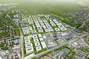 Auf einer Fläche von 75 Fußballfeldern entstehen moderne und nachhaltige Büro-, Forschungs- und Laborgebäude sowie Wohnungen