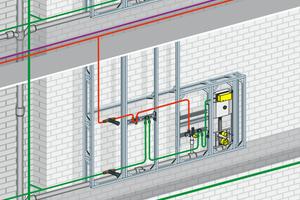 Notwendige hygienebewusste thermische Trennung schon bei der Installation: Warmwasser führende Rohrleitungen werden grundsätzlich über dem Kaltwasser-Anschluss verlegt, um ungewollten Wärmeübergang zu verhindern