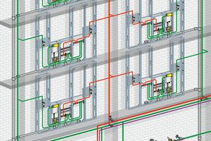 Schematischer Aufbau einer aus thermischer Sicht für den Erhalt der Trinkwassergüte optimalen Rohrleitungsführung in einem Mehrfamilienhaus