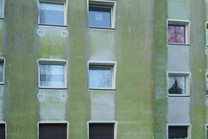 Algen- und Pilzbefall lassen die Fassade schnell dreckig aussehen. Hydrophob eingestellte Fassadenfarben und -putze sorgen für eine Basis, die das Wachstum von Pilzen und Algen begünstigt